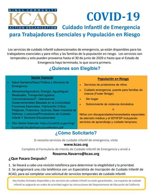 COVID-19 Emergency Child Care Flyer Spanish