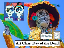 Sugar skulls painting & statue. Art Class: Day of the dead. Kings County office of education distance education kings art