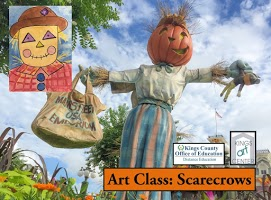 Scarecrow with pumpkin head. Drawing of scarecrow. Art Class: Scarecrows. Kings County Office of education distance education