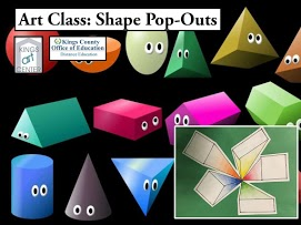 Art class: Shape Pop-Outs Kings art center Kings County Office of Education Distance Education. Shapes with eyes.