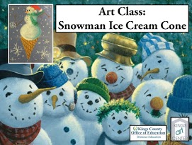 9 snowmen. Drawing of snowman ice cream cone. Art Class: Snowman Ice Cream Cone. Kings County Office of Education Distance Ed