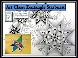 Art Class Zentangle Starburst. Kings Art center Kings County Office of Education Distance Education. Black & white starburst